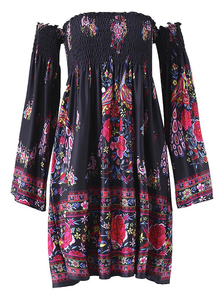 Floral Print Off shoulder Horn Sleeve Mini Dress For Women 7