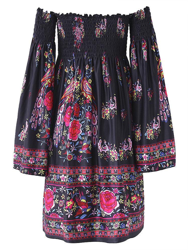 Floral Print Off shoulder Horn Sleeve Mini Dress For Women 8