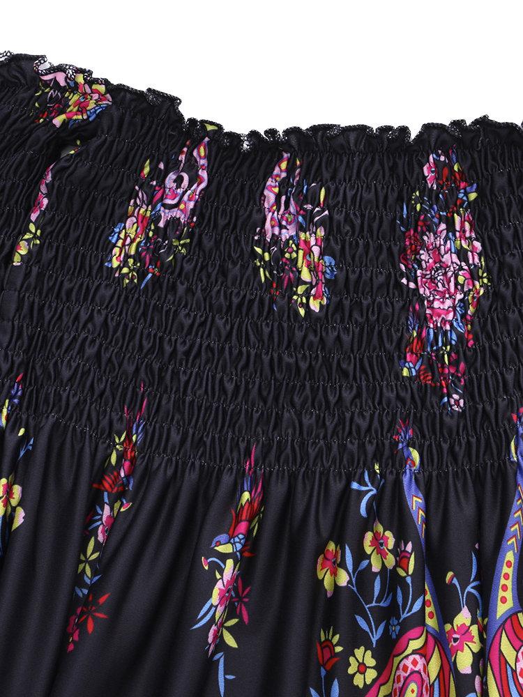 Floral Print Off shoulder Horn Sleeve Mini Dress For Women 9