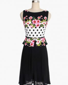 Floral Print Sleeveless Flared Dress