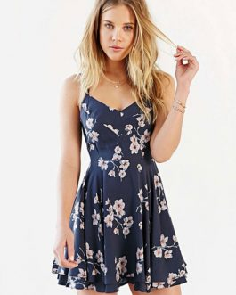 Floral Print Women's V Neck Dress