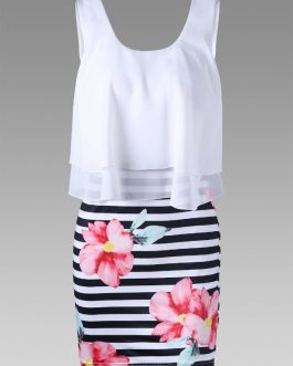 Floral and Striped Tight Popover Dresses
