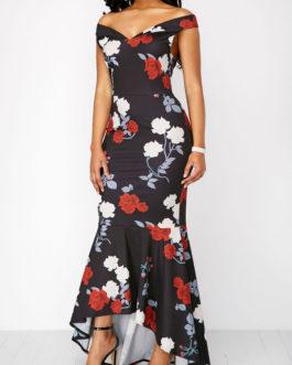 Flower Peplum Hem Bardot Maxi Dresses