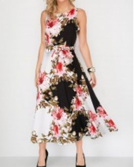 Flower Round Neck Belted Sleeveless Dress