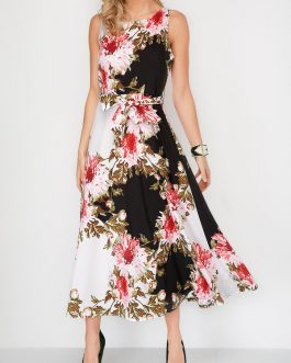 Flower Round Neck Belted Sleeveless Dresses