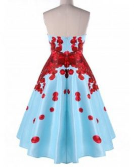 Foldover Strapless Floral High Low Party Dresses