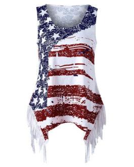 Fringe American Flag Tank Top