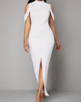 Front Slit Cold Shoulder Maxi Dresses