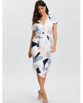 Geometric Short Sleeve Midi Dresses
