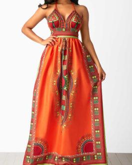 Halter High Waist Sleeveless Dashiki Dresses