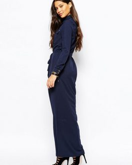 High Front Split Long Dress V-neck Long Sleeve Maxi Dress