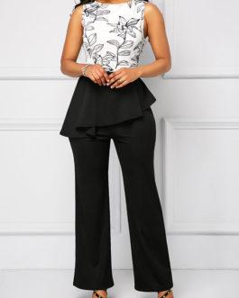 High Waist Sleeveless Printed Overlay Jumpsuit