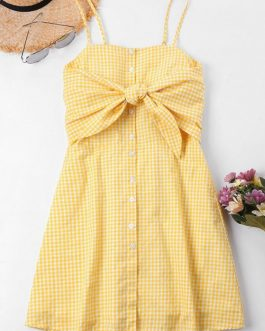 Knot Gingham Cami Dresses