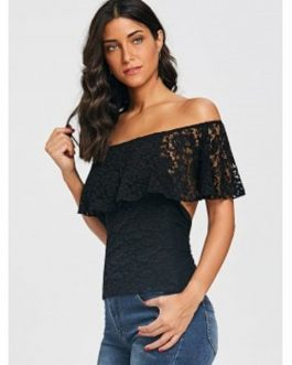 Lace Design Open Back Overlay T-shirt