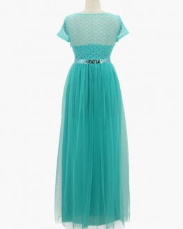 Lace Long Dress Turquoise Short Sleeve Sash Women Maxi Party Dress