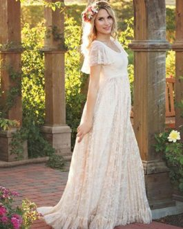 Lace Long Dress White Women Short Sleeve Ruffle Boho Maxi Dress
