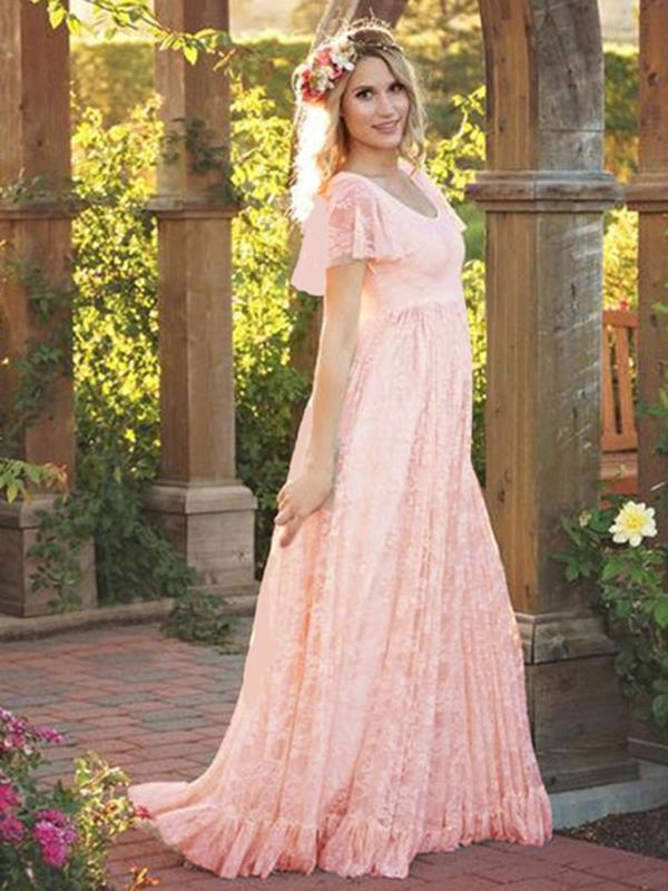 7f9d25636c89 Lace Long Dress White Women Short Sleeve Ruffle Boho Maxi Dress ...