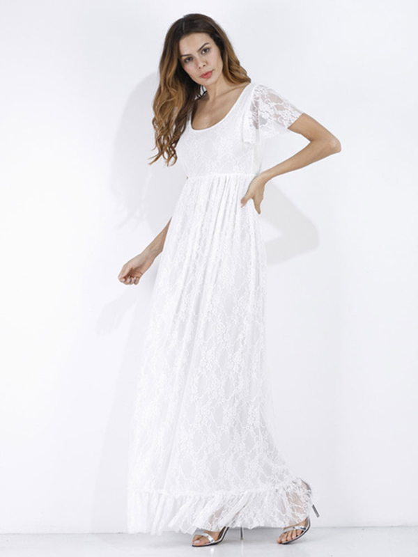 f874c364196 Lace Long Dress White Women Short Sleeve Ruffle Boho Maxi Dress ...