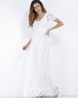 Lace Long Short Sleeve Ruffle Boho Maxi Dress