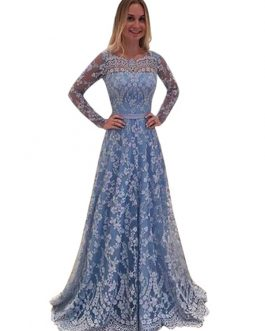 Lace Maxi Dress Women Party Dress Long Sleeve Backless Light Blue Formal Dress