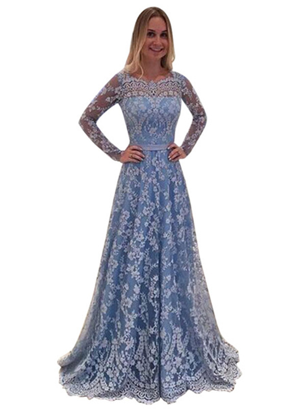 Lace Maxi Dress Women Party Dress Long Sleeve Backless Light Blue