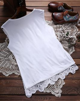 Lace Patchwork Pure Color O-neck Tank Tops