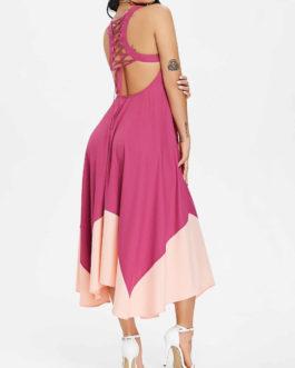 Lace Up Handkerchief Hem Chiffon Dresses