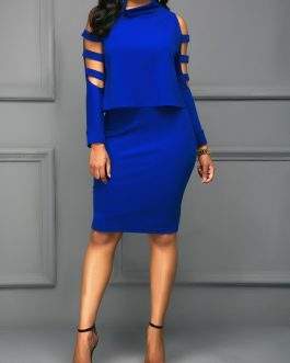 Ladder Cutout Sleeve Top and Skinny Skirt Dresses