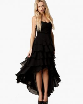 Strapless Sleeveless High Low Design Layered Ruffles Flared Dress