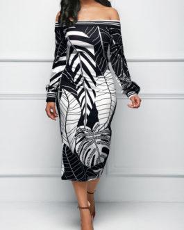 Leaf Long Sleeve Bardot Dresses
