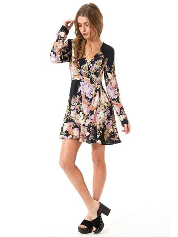 Little Black Dress Long Sleeve V Neck Floral Print Chiffon Skater