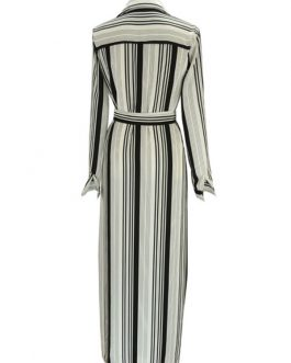Long Shirt Dress With Mono Striped