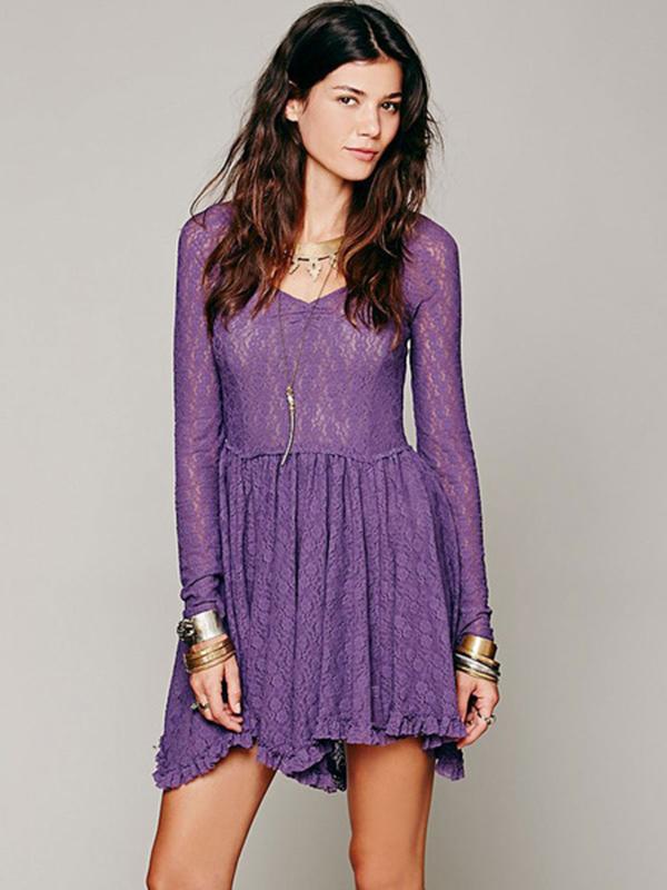 Long Sleeve Lace Dress Ruffles V Neck Summer Mini Dress