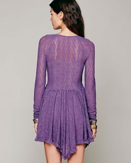 Long Sleeve Lace Dress Ruffles V Neck Summer Mini Dress
