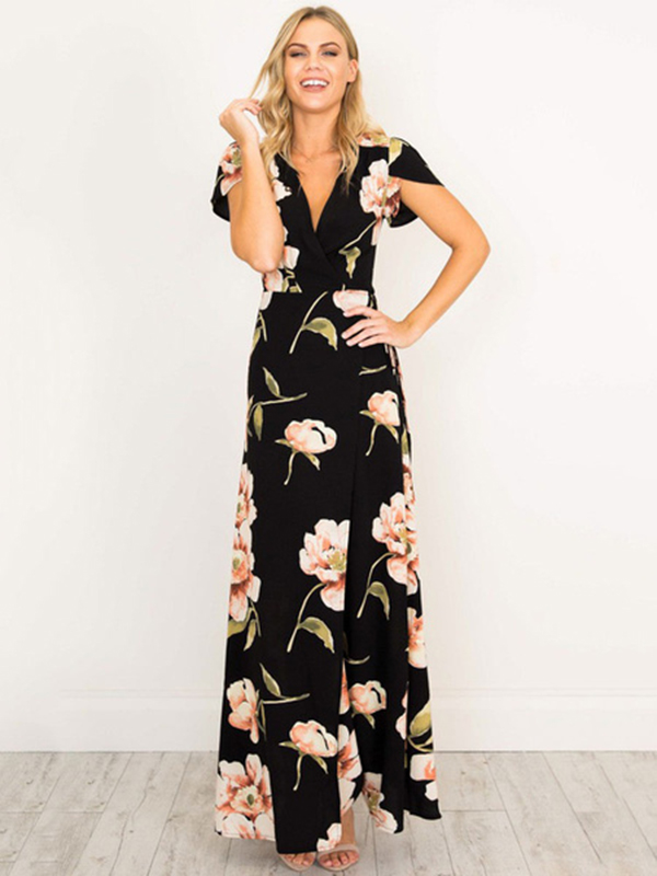 5c84cefa974 Maxi Dress Black V Neck Short Sleeve Floral Print Boho Long Dresses For  Women
