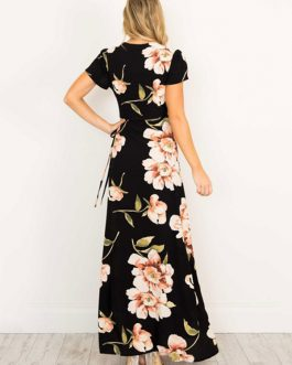 Maxi Dress Black V Neck Short Sleeve Floral Print Boho Long Dresses For Women