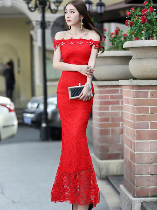 5f8448286e02 Mermaid Maxi Dress Red Off-The-Shoulder Lace Bodycon Dress - Power ...