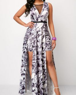 Mesh Panel Printed Double Front Slit Overlay Romper