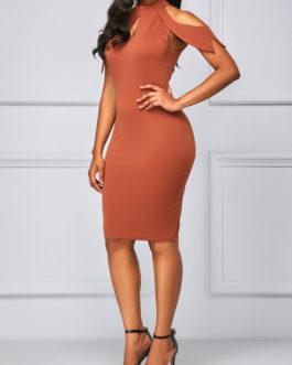 Mock Neck Cold Shoulder Cutout Sheath Dresses