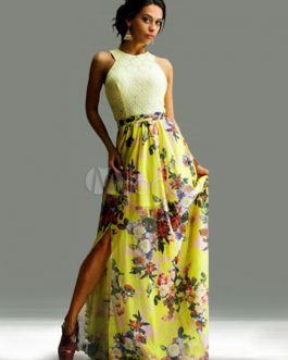 Multicolor Halter Cut Out Split Lace Maxi Dress