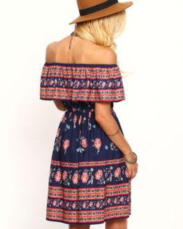 Off The Shoulder Dress Tribal Print Boho Summer Dress