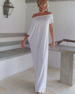 Off-The-Shoulder Maxi Dress Oversized White Cotton Dress