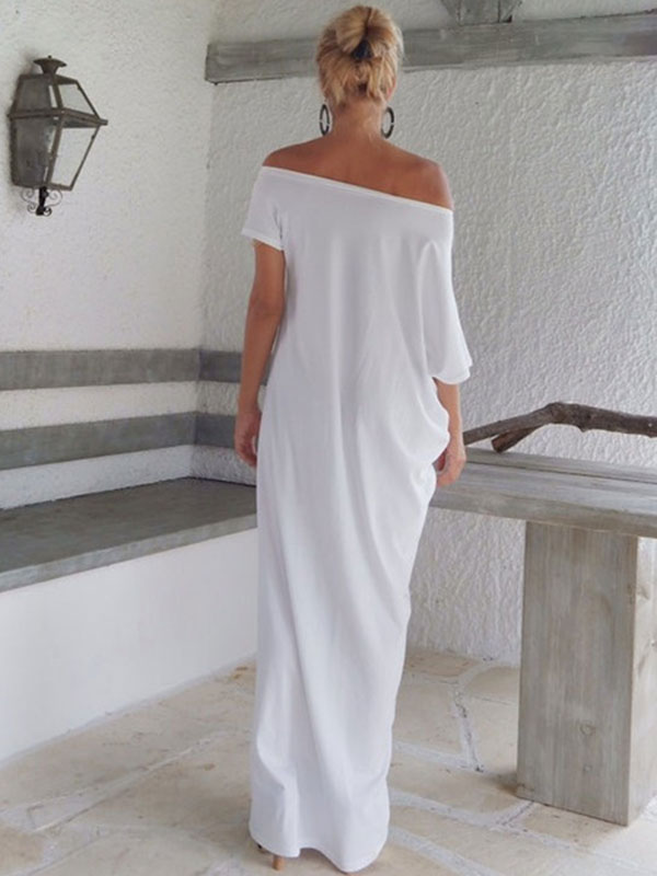 7c4aa07c840 Off The Shoulder Maxi Dress Oversized White Cotton Power Day