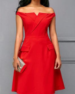 Off the Shoulder Red Short Sleeve Dress