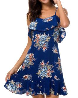 Open Back Flounce Trim Floral Dresses