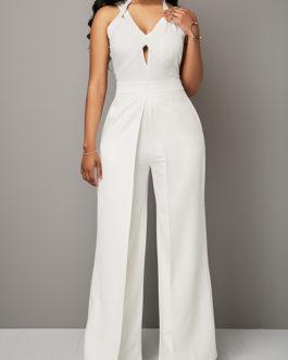Open Back Solid White Overlap Jumpsuit