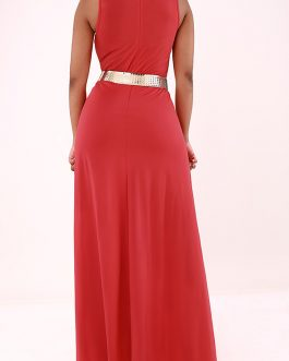 Overlay Embellished Sleeveless Solid Red Jumpsuit