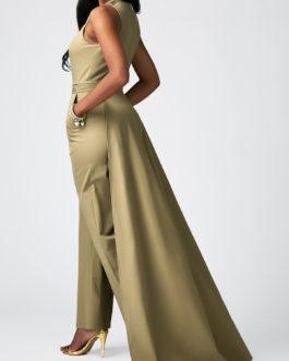 Overlay Embellished Split Neck Sleeveless Pocket Jumpsuit