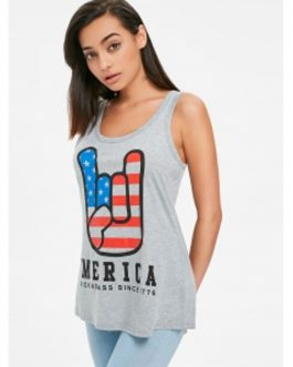 Patriotic American Flag Letter Tank Top