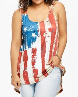 Patriotic American Flag Plus Size Tank Top